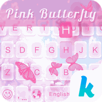 Pink Butterfly Keyboard Theme apk icon