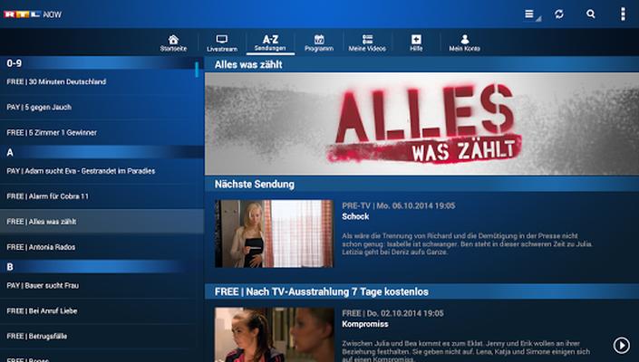 Downloaden Sie die kostenlose RTL NOW APK für Android