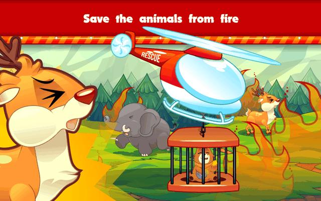 Gambar : Edukasi game Marbel Pemadam Kebakaran menyelamatkan hewan di hutan