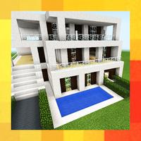 Drie moderne huizen. Kaart voor MCPE APK icon