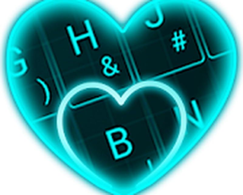 Live Neon Blue Heart Keyboard Theme Android - Free