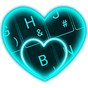 Live Neon Blue Heart Keyboard Theme 6.9.12.2018