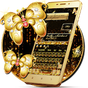 SMS Gold Butterfly Shining Keyboard Theme 10001003