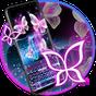 Glitter Neon Purple Butterfly Keyboard Theme  APK