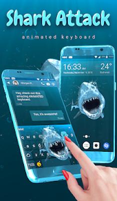 Screenshots Of Shark Attack Animated Keyboard Live Wallpaper