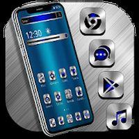 Blue Silver Metal Launcher Theme apk icon