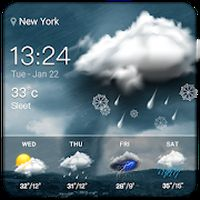 Ícone do estado e clima chuva& e temperatura  amanhã