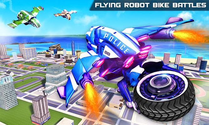 Flying US Police Bike Transform Robot Bike Games screenshot apk 0