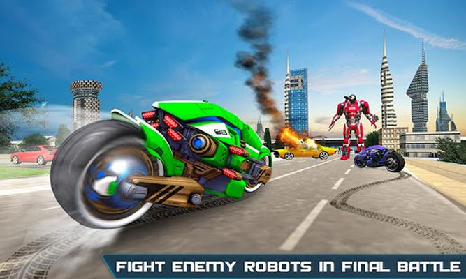 Flying US Police Bike Transform Robot Bike Games screenshot apk 1