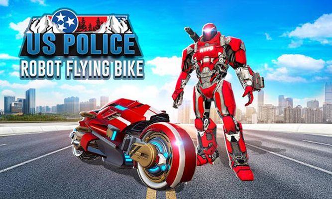 Flying US Police Bike Transform Robot Bike Games screenshot apk 2