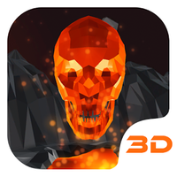 Flaming Skull 3D Theme icon