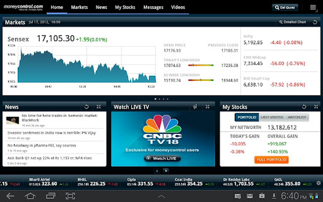 Moneycontrol Markets on Tablet Android - Free Download Moneycontrol