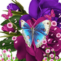 Blue Butterfly On Purple Flowe 4.0
