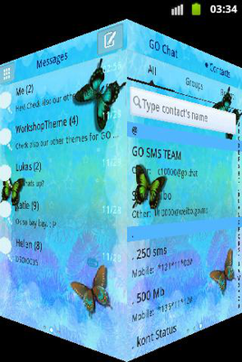Blue Butterfly Theme GO SMS Android - Free Download Blue