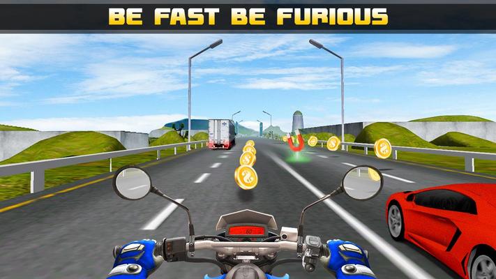 Highway Traffic Moto Bike Rider 3D Game Android - Free