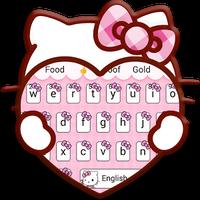 Pink Cute Kitty Cartoon Keyboard Theme Simgesi
