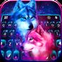 Tema Keyboard Neon Wolf Galaxy