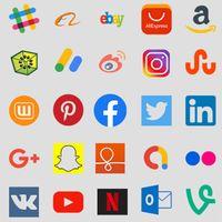Ícone do Todas as mídias sociais em um aplicativo