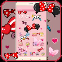 Cartoon pink cute butterfly theme wallpaper icon