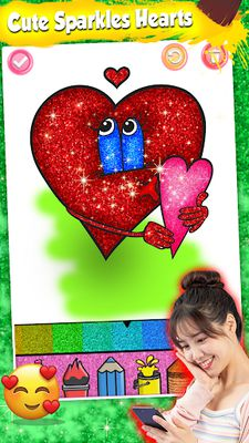 Image 7 of Glitter Heart Love Coloring Book for Girls