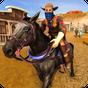 Oeste selvagem xerife cidade cavalo montado tiro