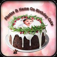Ícone do Nome foto no bolo de aniversário
