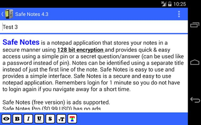 Image 1 of Safe Notes is a secure notepad