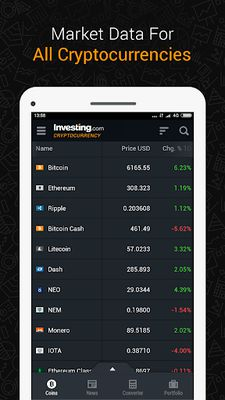 Cryptocurrency Screenshot 6: Tool and Data - Investing.com